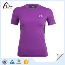 Desgaste roxo da compressão da roupa da compressão da camisa de T