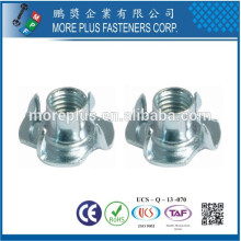 Made in Taiwan Steel Stainless Steel Copper Standard or Non-Standard Tee Nuts 5/16 BARREL 4 PRONG