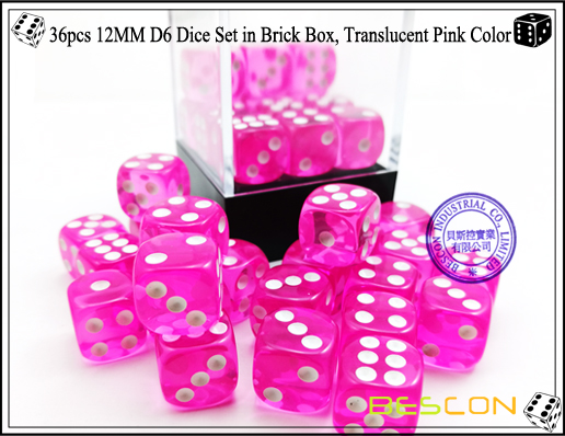 36pcs 12MM D6 Dice Set in Brick Box, Translucent Pink Color-4