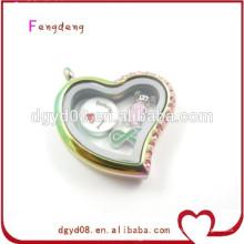 Großhandel Kristall Silber Herz Medaillon Anhänger, herzförmige Bilderrahmen Anhänger für Halskette Schmuck