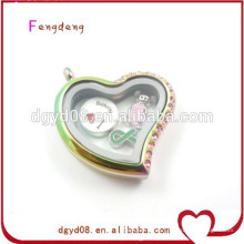 colgante de plata cristalino al por mayor del medallón del corazón, colgante en forma de corazón del marco de la foto para la joyería del collar