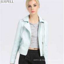 Damen Leder Short PU Jacke Absatz Herbst Bubble Frauen PU Leder Ordner Jacke