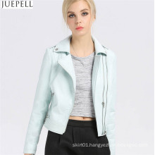 Women′s Leather Short PU Jacket Paragraph Autumn Bubble Women PU Leather Folder Jacket