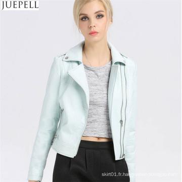 Veste courte en cuir PU paragraphe féminin automne Bubble femmes PU veste en cuir dossier