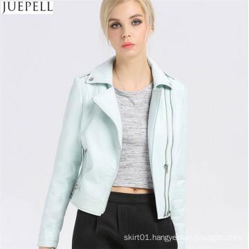 Women′s Leather Short PU Jacket Paragraph Autumn Bubble Women PU Leather Folder Jacket