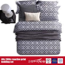 133 * 72 cama blanca negra impresa fijada para el hotel / el uso en el hogar