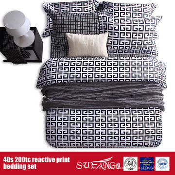 133*72 Printed Black White Bed Set for Hotel/Home Use