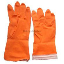 NMSAFETY wasserdichte Handschuh billig Spray Flockline orange Haushalt Latex Handschuh