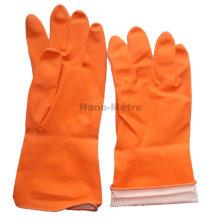 NMSAFETY luva impermeável barato spray flockline laranja luva de látex para uso doméstico