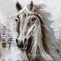 White Horse Aluminum Base Animal Oil Painting