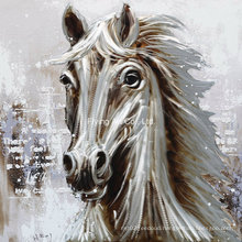 White Horse Aluminum Base Animal Oil Painting