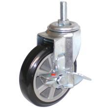 Eg01 Threaded Stem PU Caster with Side Brake(Black)