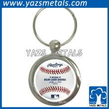Chaveiro metálico redondo encantador para membros do baseball como lembrança