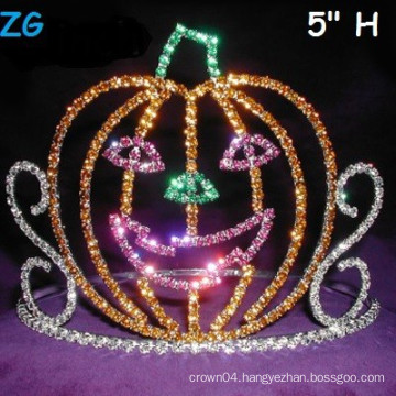 Cute Colored Smile Pumpkins Pageant Crown, Halloween Pageant Crown