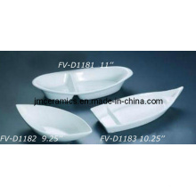 Bowl en forma de barco de porcelana