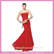 LE0006 Bright red color strapless sleevless embroidery mermaid beads patterns organza prom dress 2013 long lace prom dresses