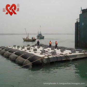 Équipement professionnel de bateau de sauvetage flottant airbag en caoutchouc / ponton de récupération utilisé pour le lancement et le levage de bateau