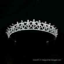 Nouveau design de mariage Crystal Crown Silver Bridal Tiara Headpiece de luxe
