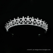 Novo design de tiara de luxo para casamento de cristal coroa prata nupcial