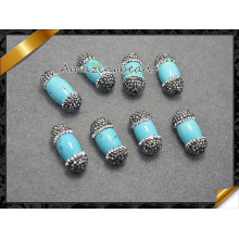 Turquoise Beads with MID Hole, Crystal Paved Beads Turquoise Jewelry (EF0110)