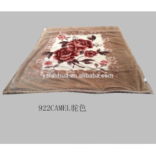 Light Khaki 100% Polyester Raschel Mink Blanket Throw Set