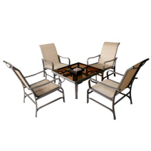 Garden/Outdoor furniture 5pc sling chat set with firebox
