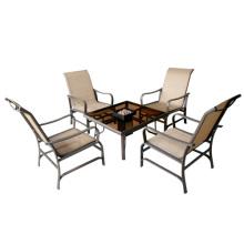 Chat de cabestrillo 5pc muebles de jardín/exterior con cámara de combustión