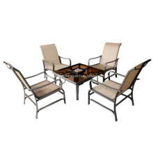Outdoor furniture 5pc sling dining set with a firebox