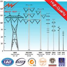 Linha de transmissão de energia elétrica de aço do ângulo torres de aço de polo