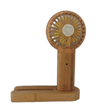 Summer Hot Selling Bamboo 3 in 1 Fan & Power Bank Function Phone Holder