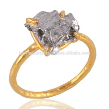 Daily Wear Light Weight Rough Meteorite Gemstone 18K Gold Plated 925 Silver Ring