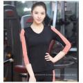 Женщины 85spandex+15nylon фитнес-равнина V шеи контраст цвета 3/4 рукавом футболки Спортивная одежда