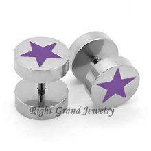 Diseño único túnel falso estrella púrpura Pendientes piercings