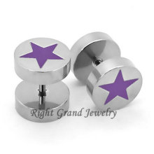 Diseño único Purple Star Fake Tunnel Earrings Piercing Jewelry