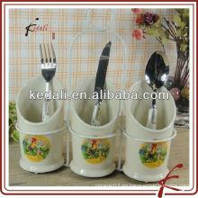 Venta al por mayor de porcelana de cerámica de Utensilio titular de cuchillos y tenedores