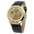 luxury golden wrist watch with ruby skeleton design watch