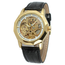 luxury golden wrist watch with ruby skeleton design watch