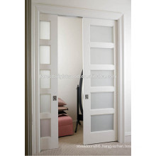 5 Panel Frosted Glass Double Sliding French Doors