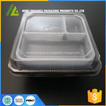 bandejas de comida desechables con tapa 3 compartimiento