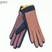 new style develop Color Blocking women sewing wool fabric sheepskin gloves