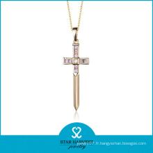 Pendentif croix opale en argent semi-précieuse en argent véritable (N-0171)