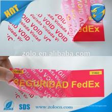 Kundenspezifisches Papier VOID Garantie-Dichtungsaufkleber-Druckaufkleber, manipulationssicherer offensichtlicher Dichtungsaufkleberaufkleber