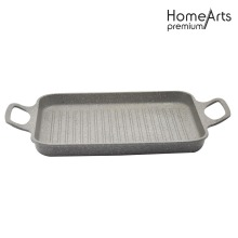 Aluminum Die-casting Rectangular Grill Pan With Handle