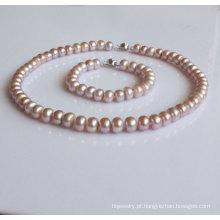 Natual alfazema cultivadas Pearl conjunto de jóias