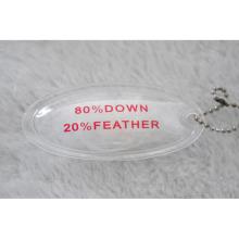 Oval forma inflable PVC etiqueta llena de plumas