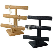 Counter Top 2 Wood Bar Display Stand For Jewelry, Custom Velvet Bangle Display Stand For Watches