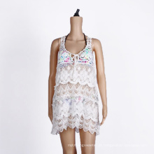 Algodão Crochet Beach Cover Up White Wear Swimwear