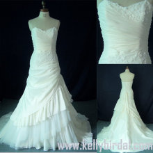 2010 A Line Strapless Asymmetric tafetá vestido de noiva (74100)