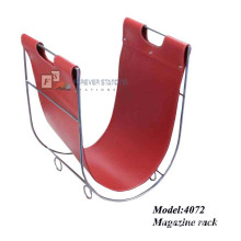 PU Leather and Metal Frame Magazine Rack (4072)