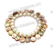 Fashion Pearl Beads with Alloy Saint Pictures Bracelet